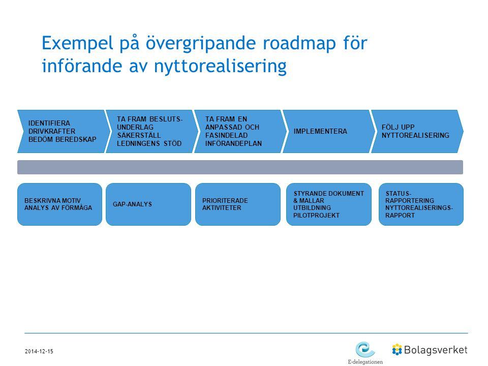 Exempel på övergripande roadmap för införande av nyttorealisering