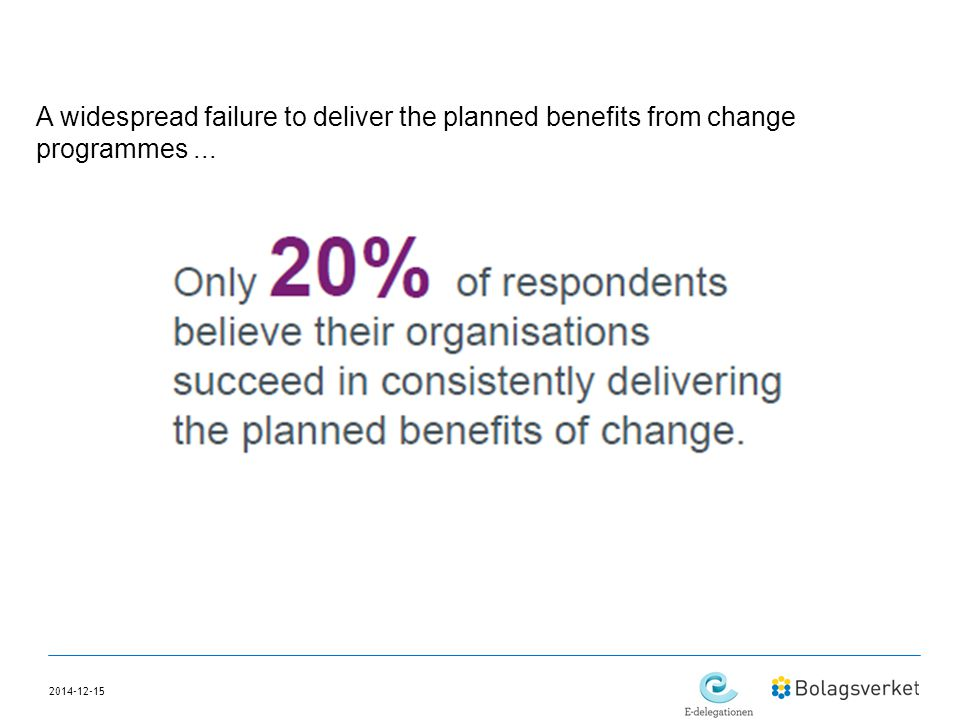 A widespread failure to deliver the planned benefits from change programmes ...