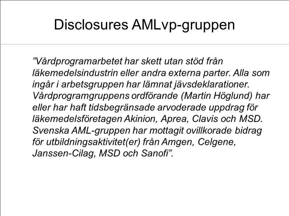 Disclosures AMLvp-gruppen