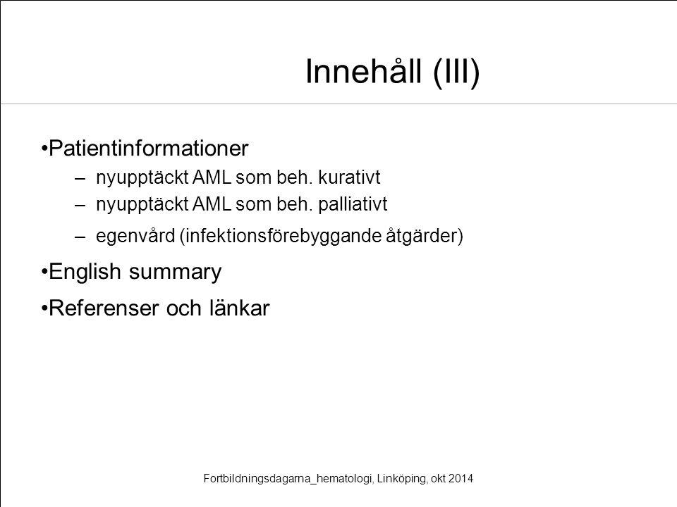 Fortbildningsdagarna_hematologi, Linköping, okt 2014
