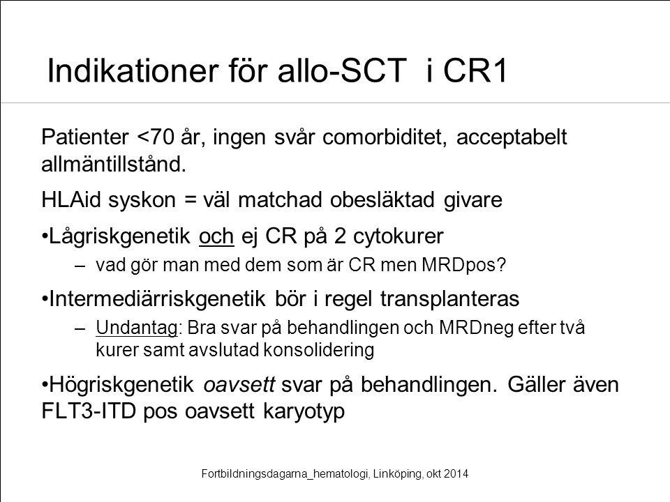 Indikationer för allo-SCT i CR1