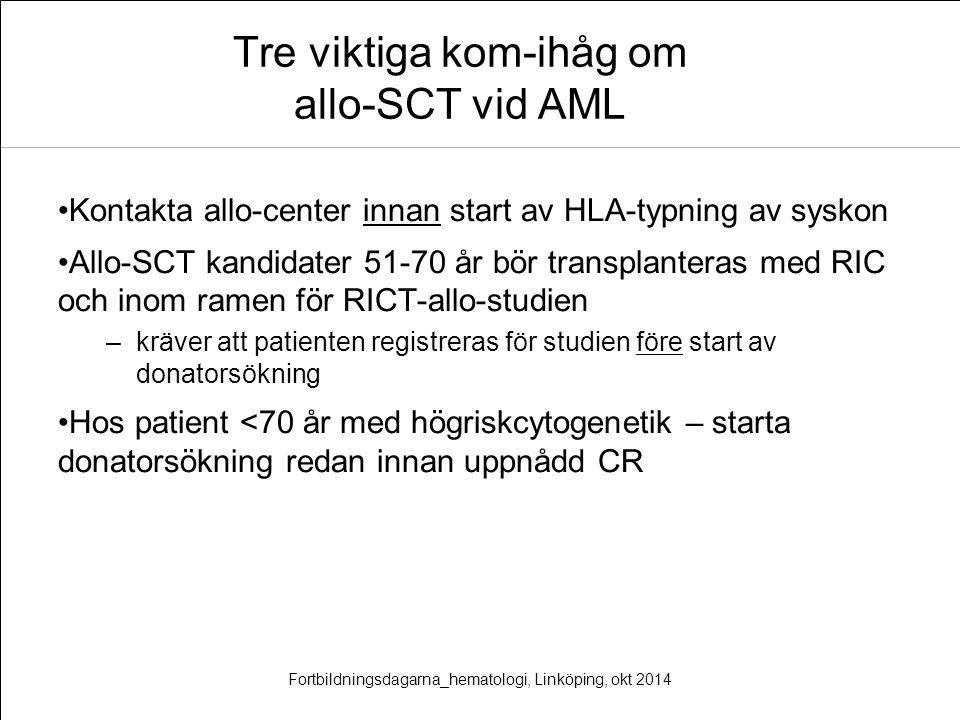 Tre viktiga kom-ihåg om allo-SCT vid AML