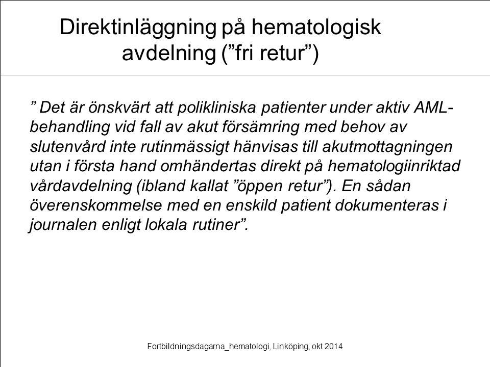 Direktinläggning på hematologisk avdelning ( fri retur )