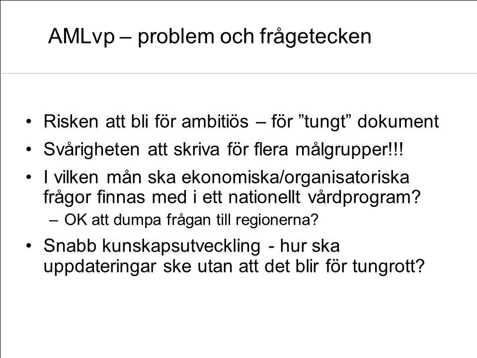 AMLvp – problem och frågetecken