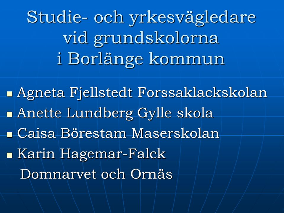 Studie- och yrkesvägledare vid grundskolorna i Borlänge kommun