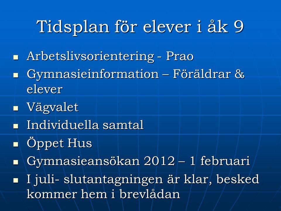 Tidsplan för elever i åk 9