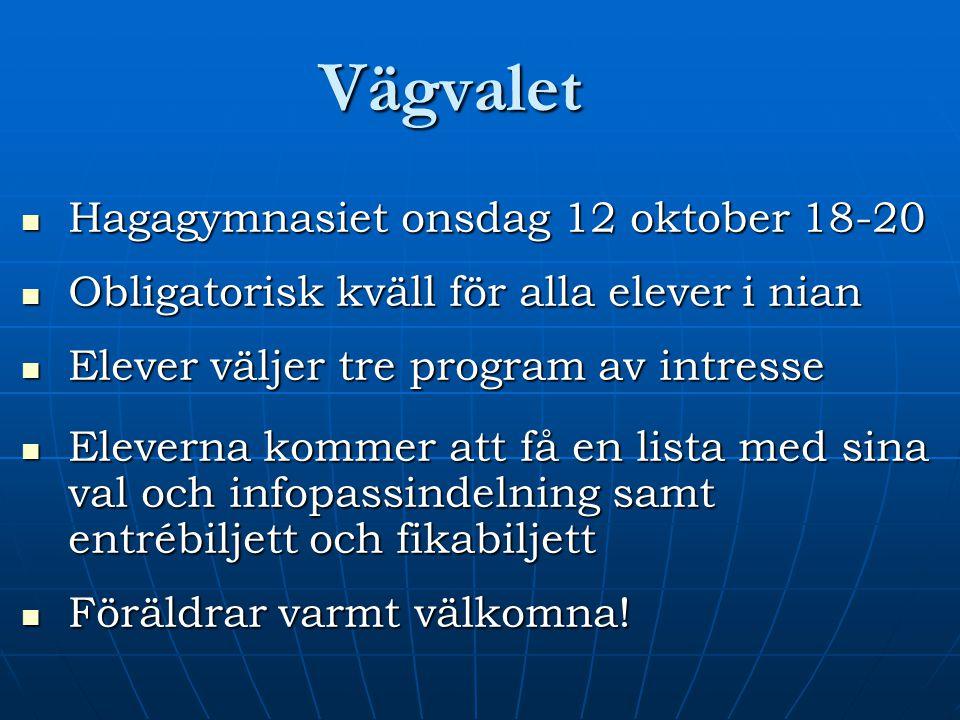 Vägvalet Hagagymnasiet onsdag 12 oktober 18-20
