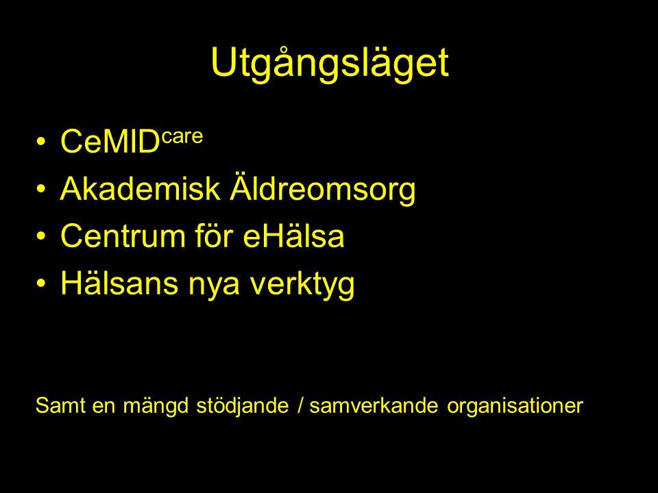 Utgångsläget CeMIDcare Akademisk Äldreomsorg Centrum för eHälsa