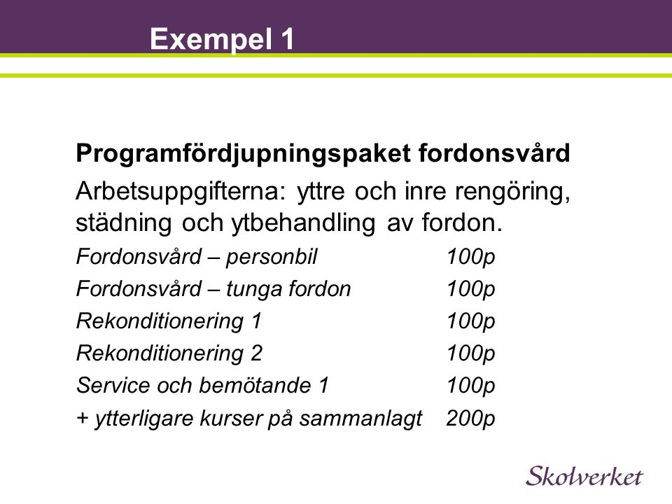 Exempel 1 Programfördjupningspaket fordonsvård