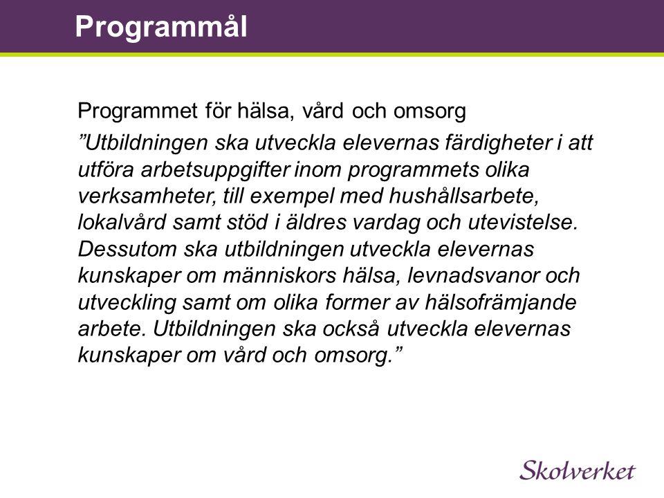 Programmål Programmet för hälsa, vård och omsorg
