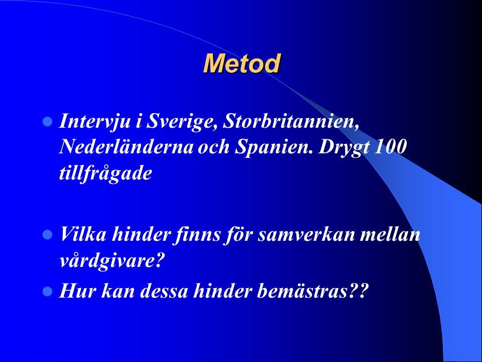 Metod Intervju i Sverige, Storbritannien, Nederländerna och Spanien. Drygt 100 tillfrågade. Vilka hinder finns för samverkan mellan vårdgivare