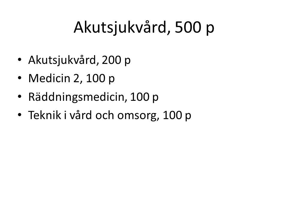 Akutsjukvård, 500 p Akutsjukvård, 200 p Medicin 2, 100 p