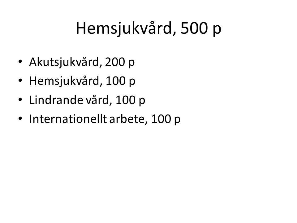 Hemsjukvård, 500 p Akutsjukvård, 200 p Hemsjukvård, 100 p