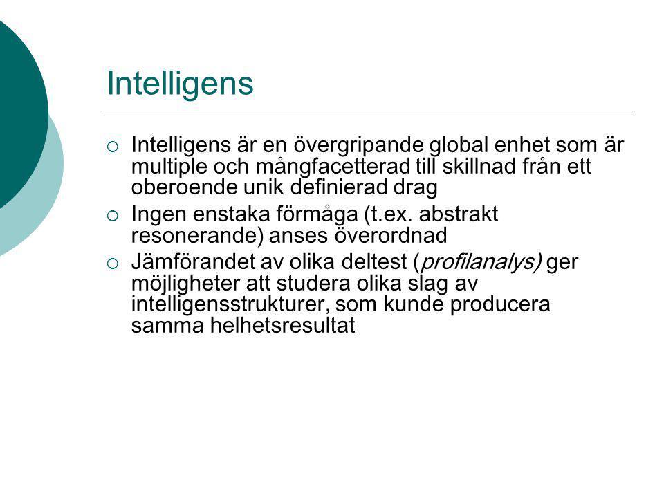 Intelligens Intelligens är en övergripande global enhet som är multiple och mångfacetterad till skillnad från ett oberoende unik definierad drag.