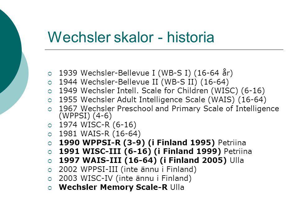 Wechsler skalor - historia