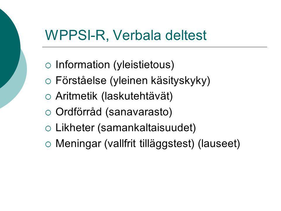 WPPSI-R, Verbala deltest