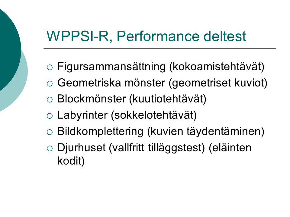 WPPSI-R, Performance deltest
