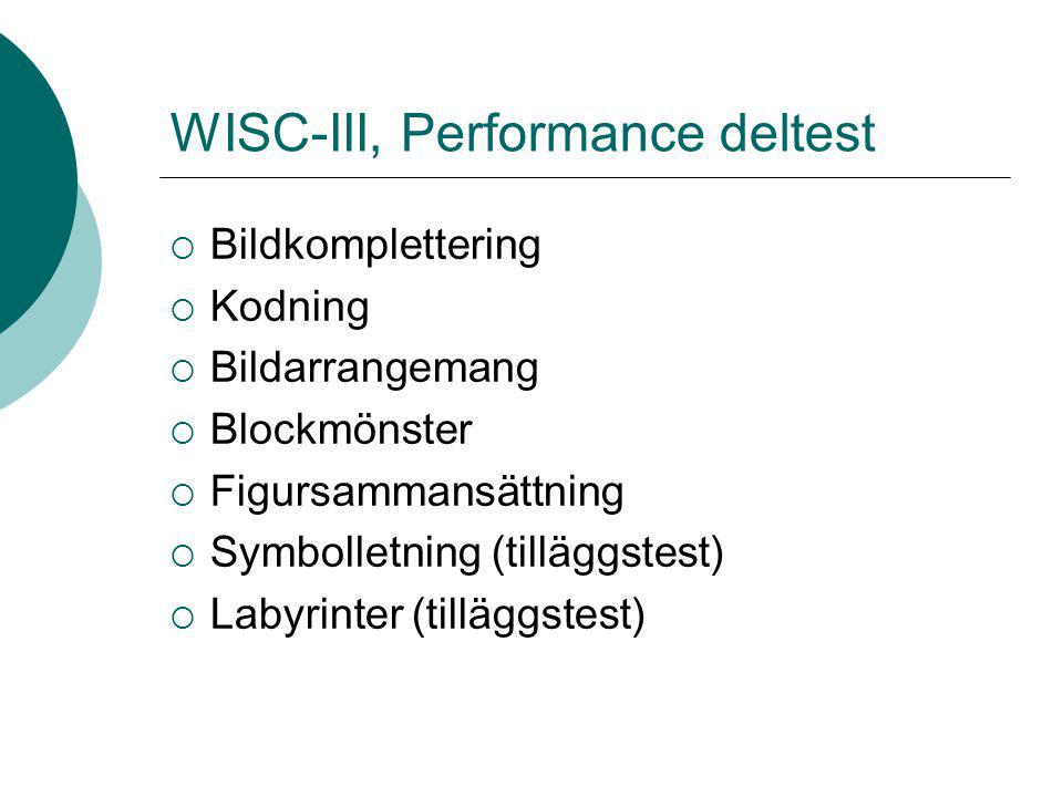 WISC-III, Performance deltest