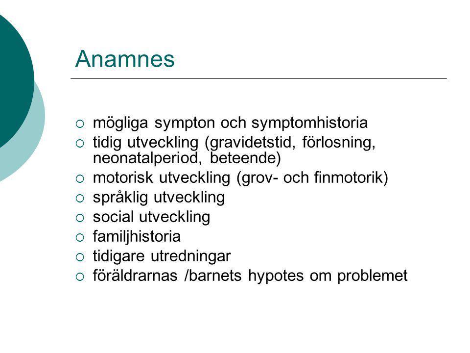 Anamnes mögliga sympton och symptomhistoria