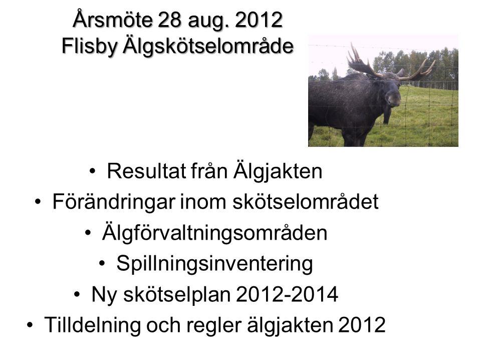 Årsmöte 28 aug. 2012 Flisby Älgskötselområde