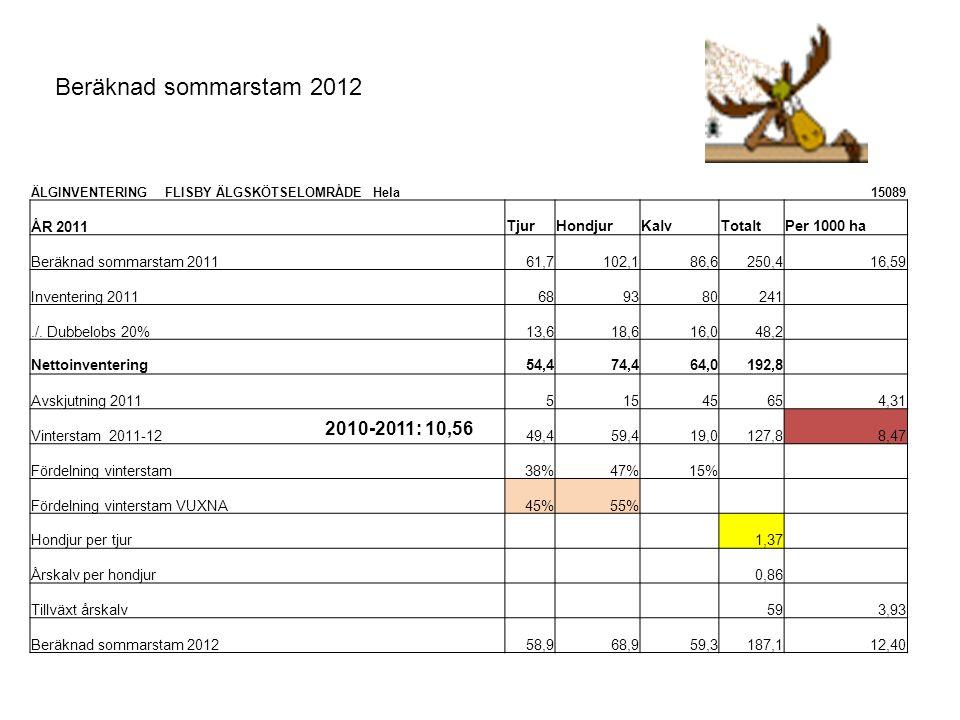 Beräknad sommarstam 2012 2010-2011: 10,56 ÅR 2011 Tjur Hondjur Kalv
