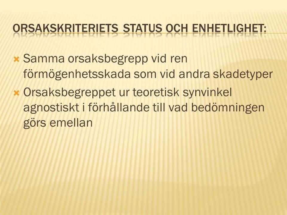 Orsakskriteriets status och enhetlighet: