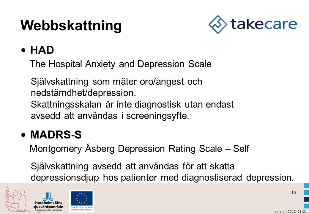 Webbskattning HAD The Hospital Anxiety and Depression Scale