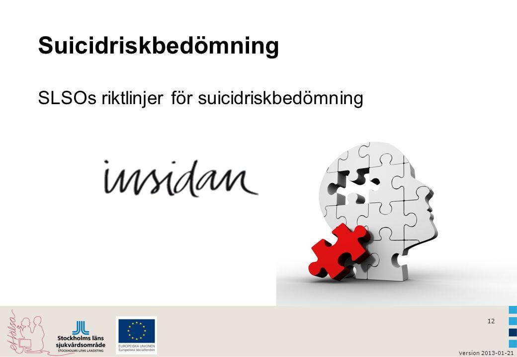 Suicidriskbedömning SLSOs riktlinjer för suicidriskbedömning