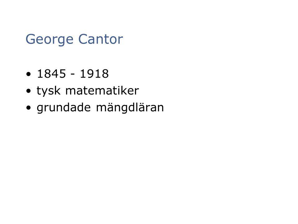 George Cantor 1845 - 1918 tysk matematiker grundade mängdläran 7