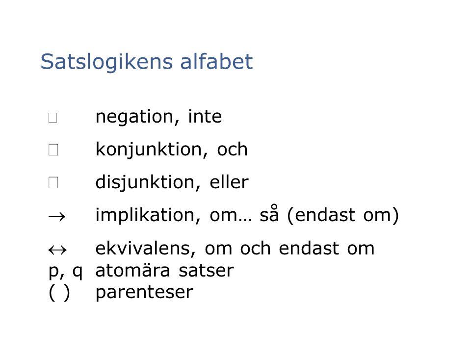 Satslogikens alfabet Ù konjunktion, och Ú disjunktion, eller