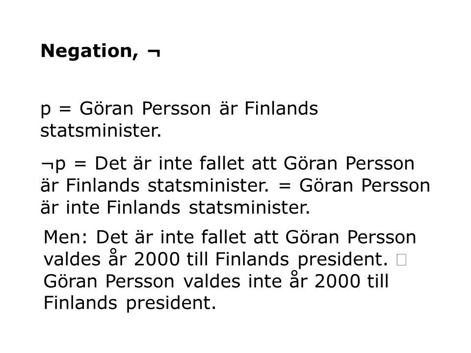 Negation, ¬ p = Göran Persson är Finlands statsminister.