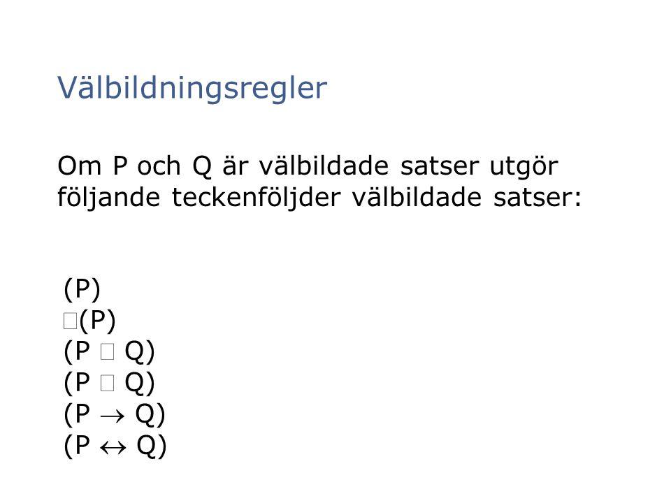Välbildningsregler Om P och Q är välbildade satser utgör följande teckenföljder välbildade satser: (P)