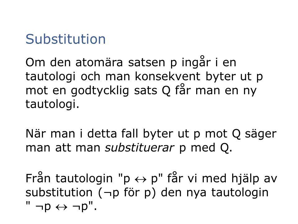 Substitution Om den atomära satsen p ingår i en tautologi och man konsekvent byter ut p mot en godtycklig sats Q får man en ny tautologi.