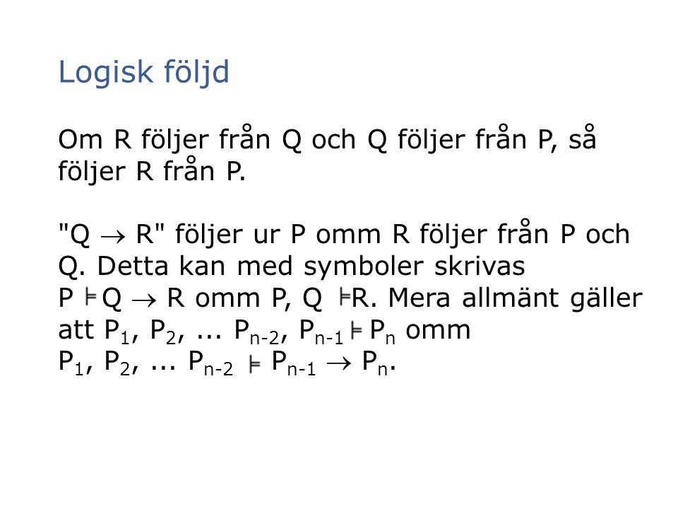 Logisk följd Om R följer från Q och Q följer från P, så följer R från P.