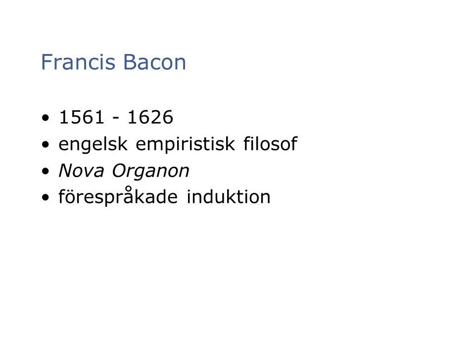 Francis Bacon 1561 - 1626 engelsk empiristisk filosof Nova Organon