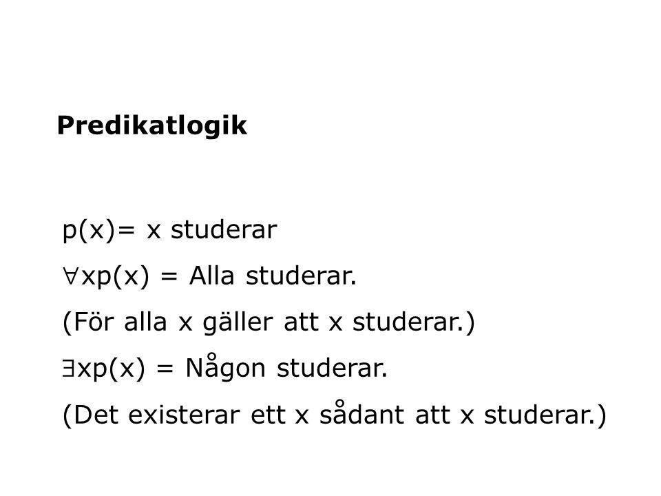 Predikatlogik p(x)= x studerar. xp(x) = Alla studerar. (För alla x gäller att x studerar.) xp(x) = Någon studerar.