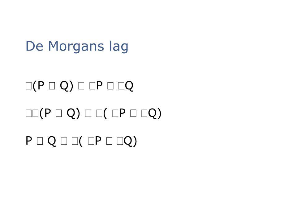 De Morgans lag Ø(P Ù Q) Û ØP Ú ØQ ØØ(P Ù Q) Û Ø( ØP Ú ØQ)