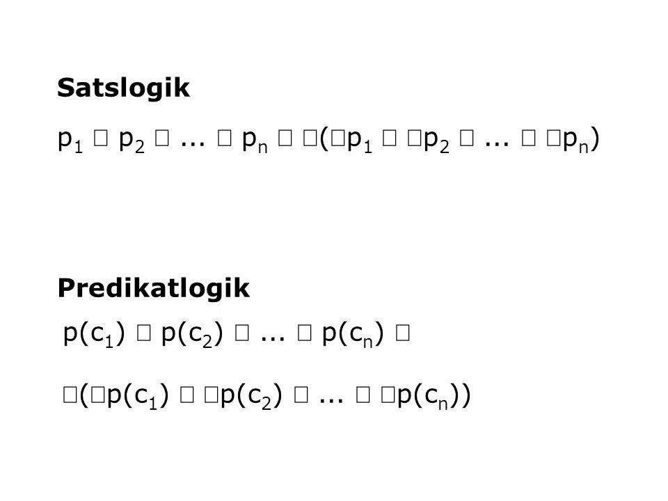 Satslogik p1 Ù p2 Ù ... Ù pn Û Ø(Øp1 Ú Øp2 Ú ... Ú Øpn) Predikatlogik. p(c1) Ù p(c2) Ù ... Ù p(cn) Û.