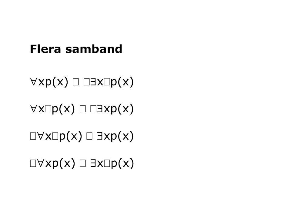 Flera samband xp(x) Û Ø$xØp(x) xØp(x) Û Ø$xp(x) Ø xØp(x) Û $xp(x) Ø xp(x) Û $xØp(x)