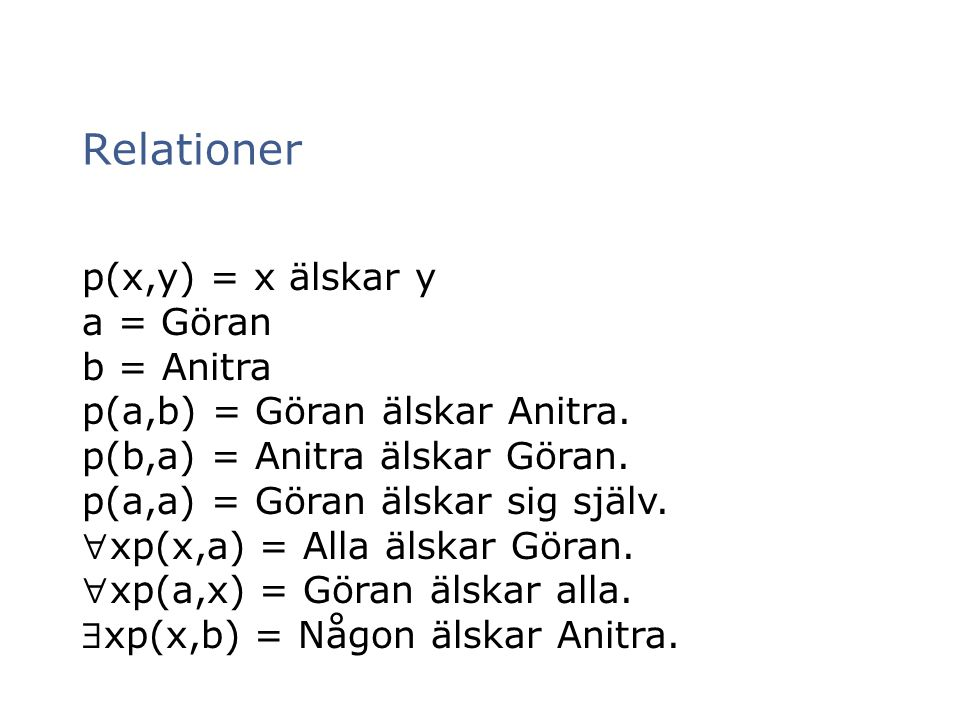 Relationer p(x,y) = x älskar y a = Göran b = Anitra