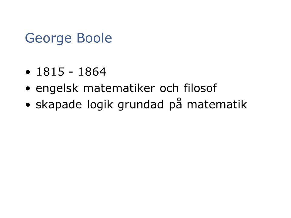 George Boole 1815 - 1864 engelsk matematiker och filosof