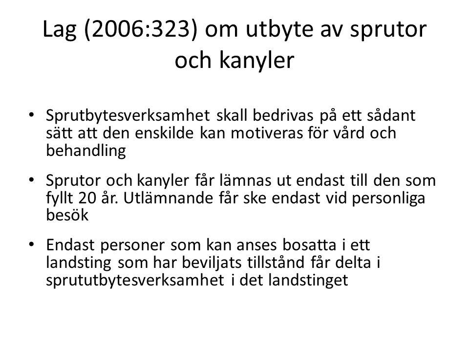 Lag (2006:323) om utbyte av sprutor och kanyler