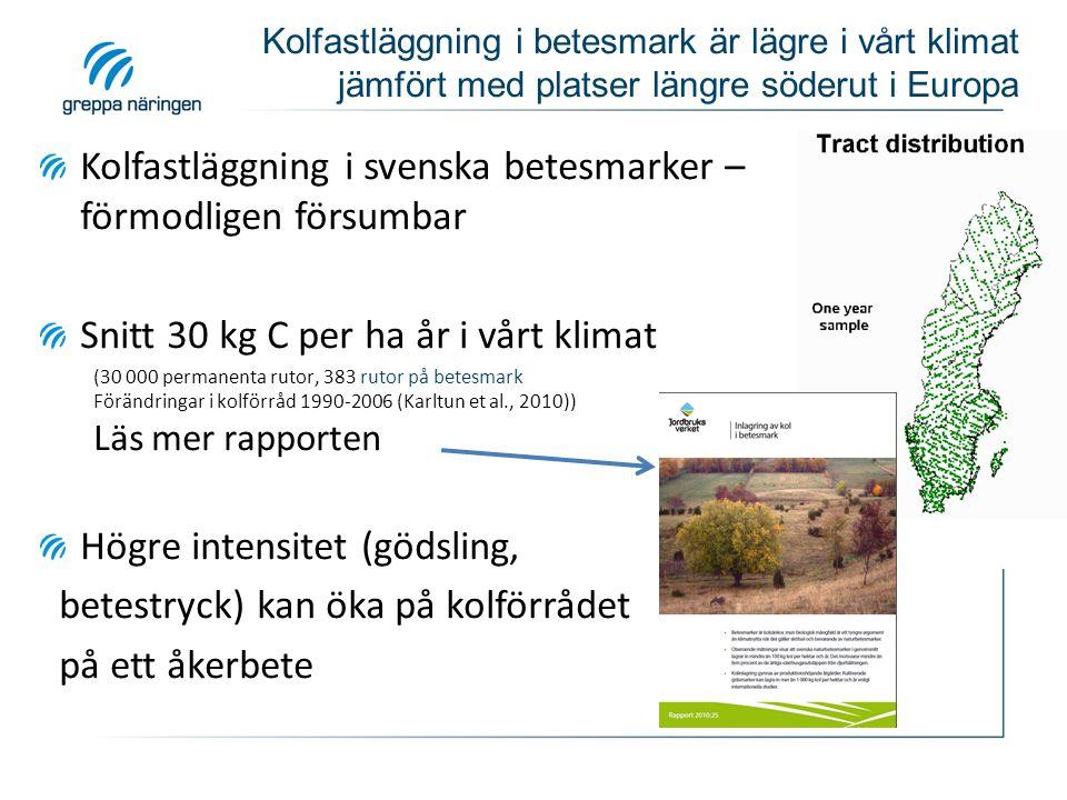 Kolfastläggning i svenska betesmarker – förmodligen försumbar