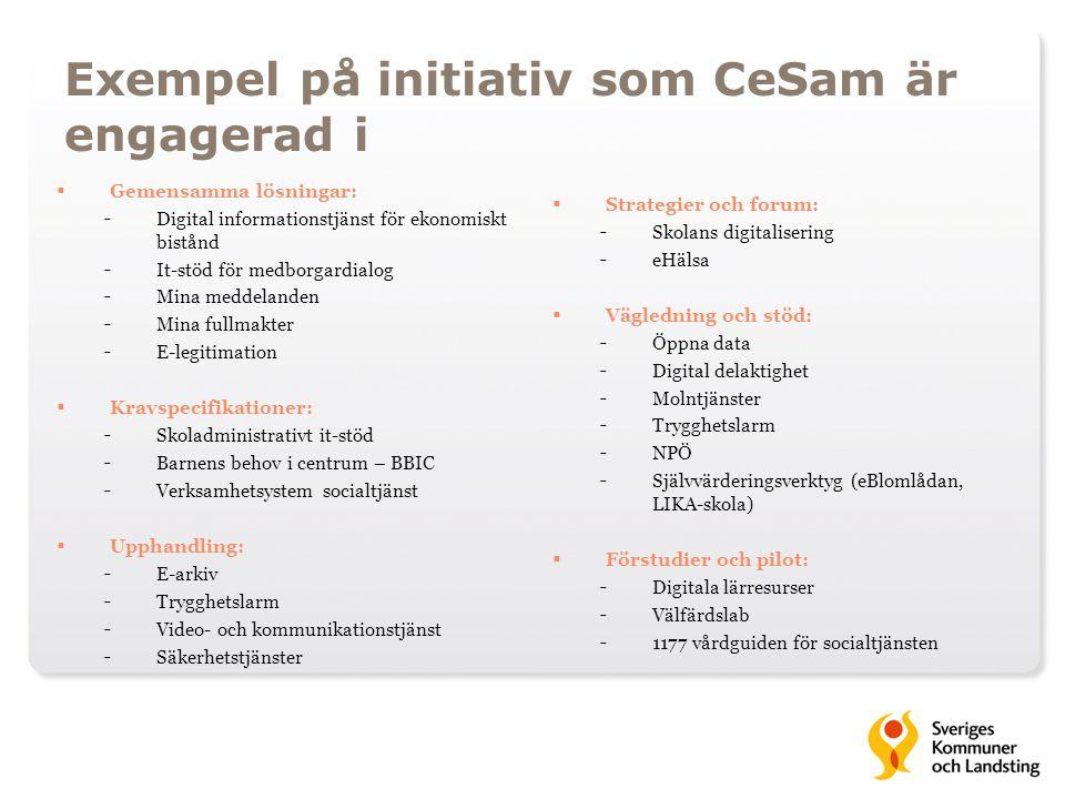 Exempel på initiativ som CeSam är engagerad i