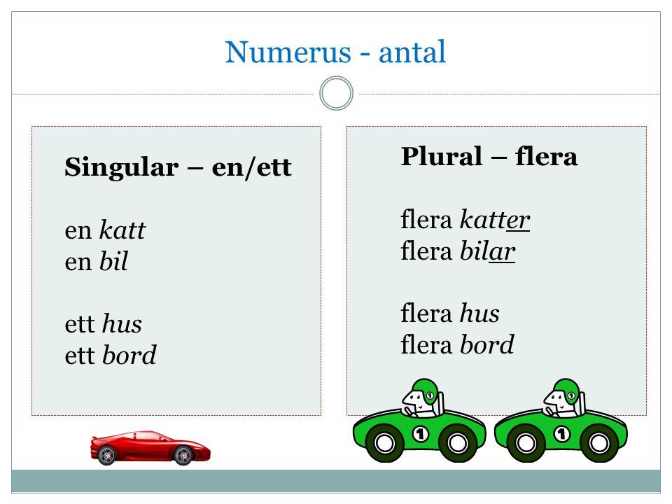 Numerus - antal Plural – flera Singular – en/ett flera katter en katt