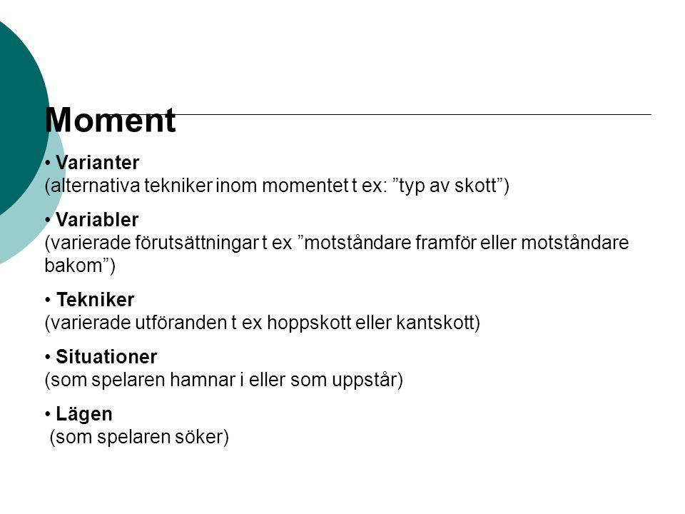 Moment Varianter (alternativa tekniker inom momentet t ex: typ av skott )