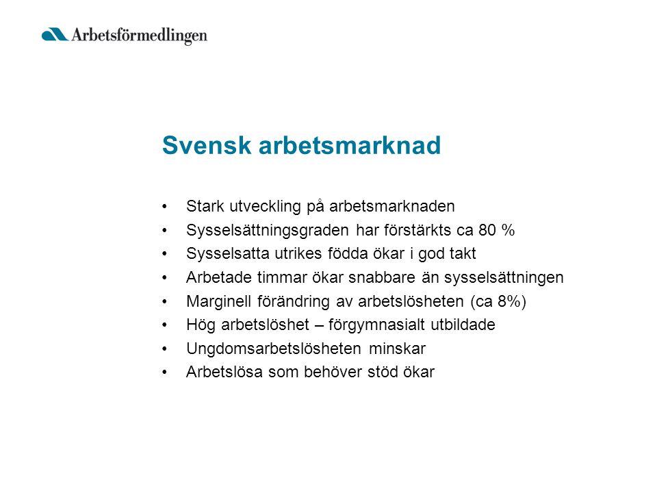 Svensk arbetsmarknad Stark utveckling på arbetsmarknaden