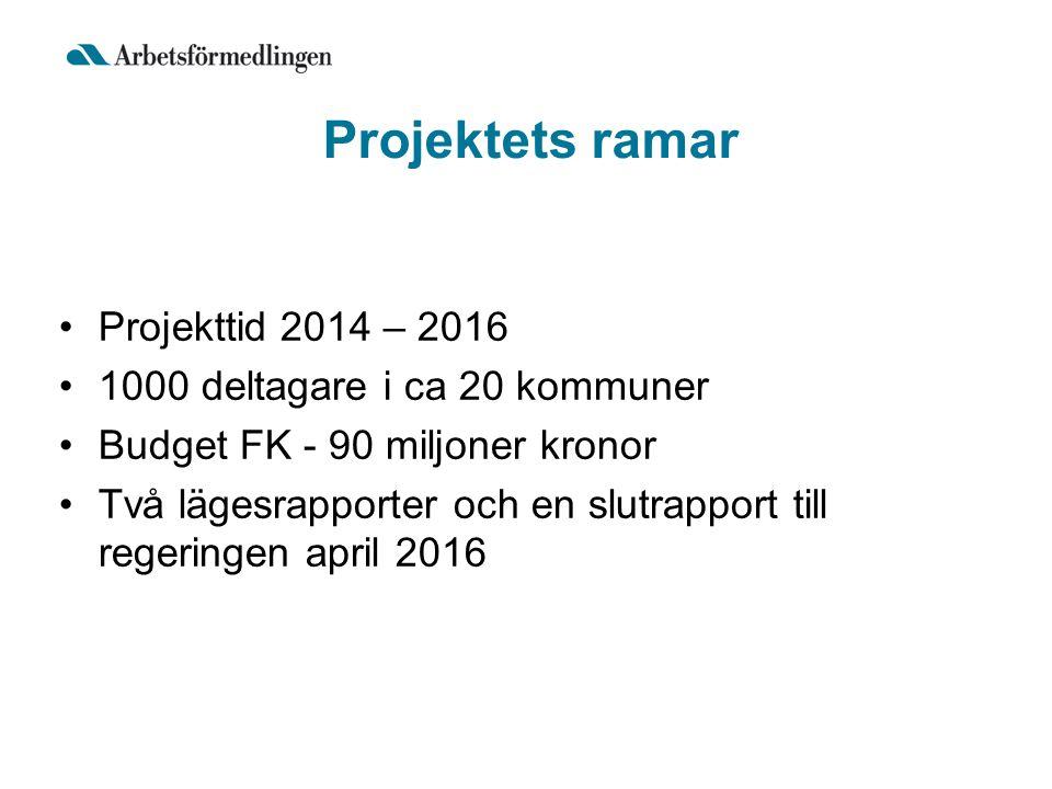 Projektets ramar Projekttid 2014 – 2016