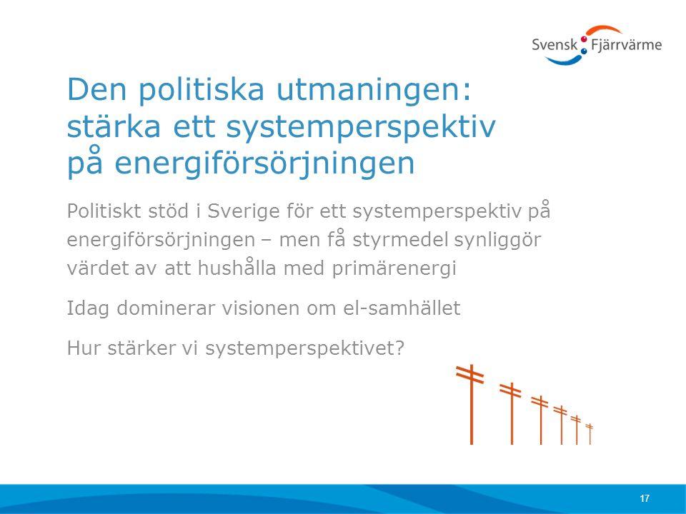 Den politiska utmaningen: stärka ett systemperspektiv på energiförsörjningen