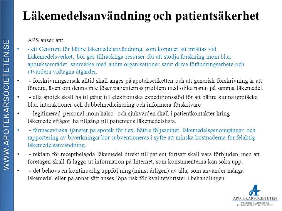 Läkemedelsanvändning och patientsäkerhet